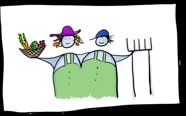 Eine Zeichnung mit zwei Menschen die sich im Arm halten. Eine Person hat ein Gemüsekorb in der Hand, die andere Person eine Biograbegabel.
