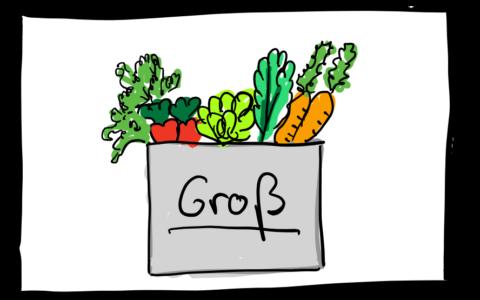 Eine Zeichnung mit einer großen Gemüsekiste
