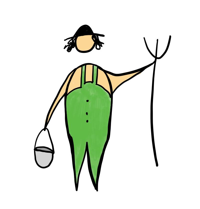 Zeichnung eines Bauers