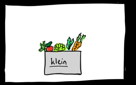 Eine Zeichnung mit einer kleinen Gemüsekiste.