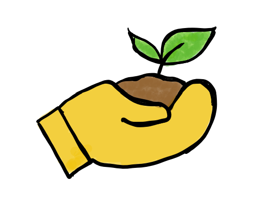 Zeichnung einer kleinen Pflanze, die in der Hand gehalten wird.