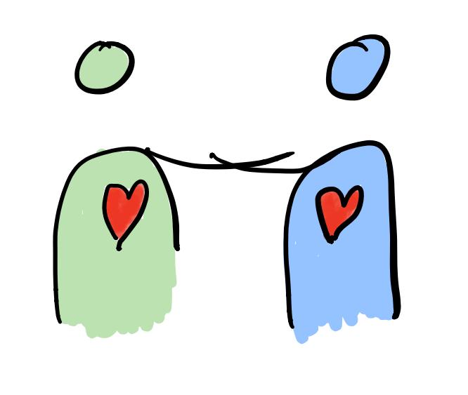 Zeichnung von zwei Personen, die sich im Arm halten.